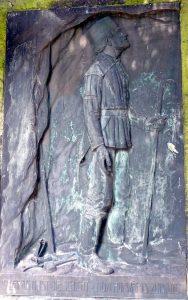 Letzte Schicht eines Bergmannes - Relief auf einem Grabstein