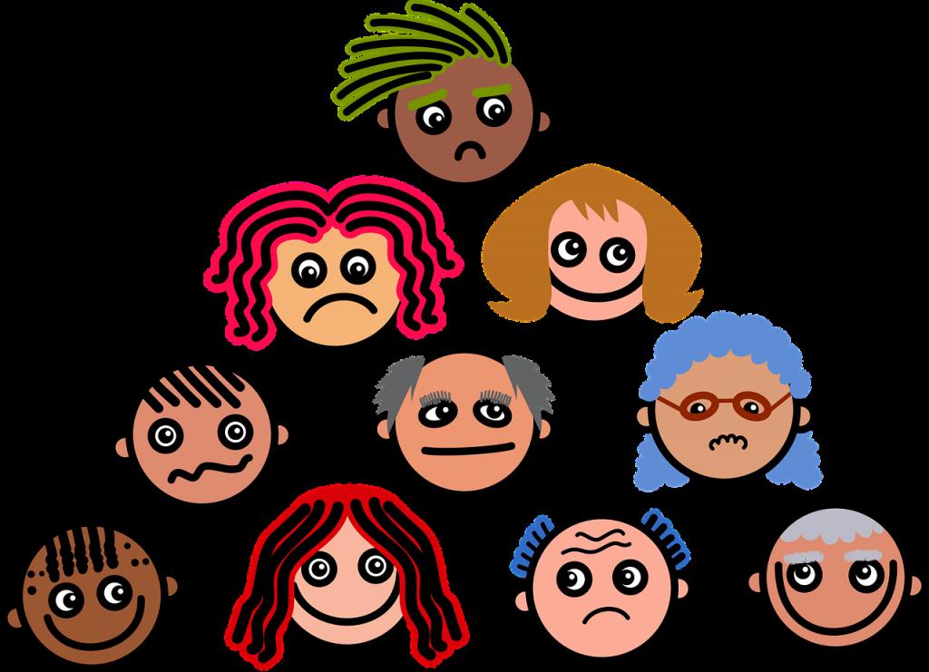 Zehn verschiedenartige Gesichter sind als eine Pyramide aufeinander gezeichnet, mit und ohne Haare, verschiedene Hautfarbe und Gesichtsausdrücke, die auf unterschiedliche Meinungen schließen lassen