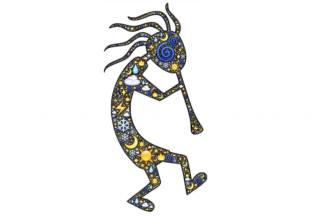 Die Silhouette eines Flöte spielenden laufenden Männchens mit wirren Haaren und Symbolen auf dem Körper