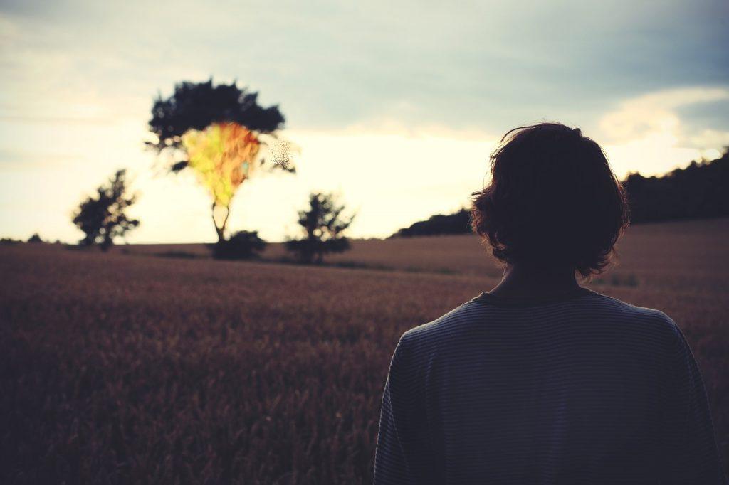 Ein junger Mann sieht in der Entfernung einen scheinbar brennenden Baum