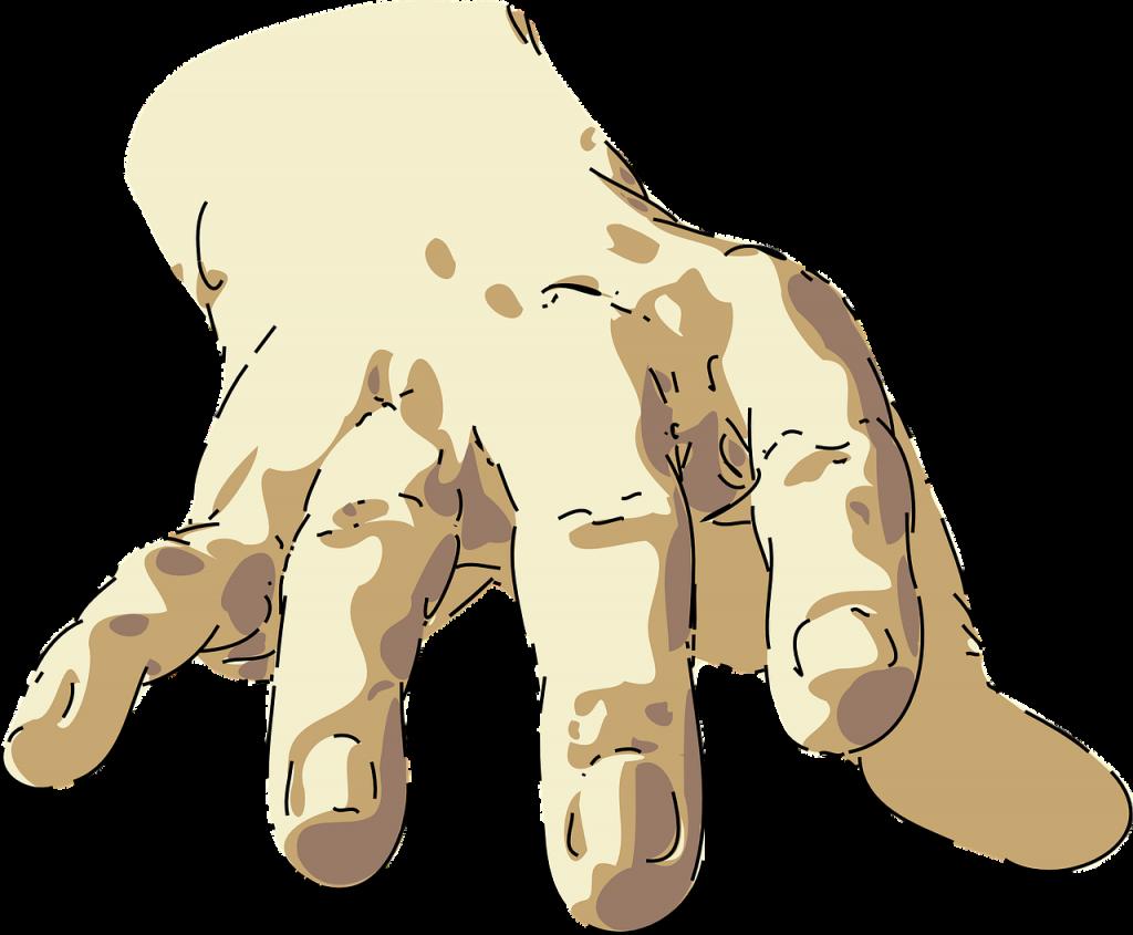 Eine große Hand streckt sich uns entgegen - in bedrohlicher oder friedlicher Absicht?