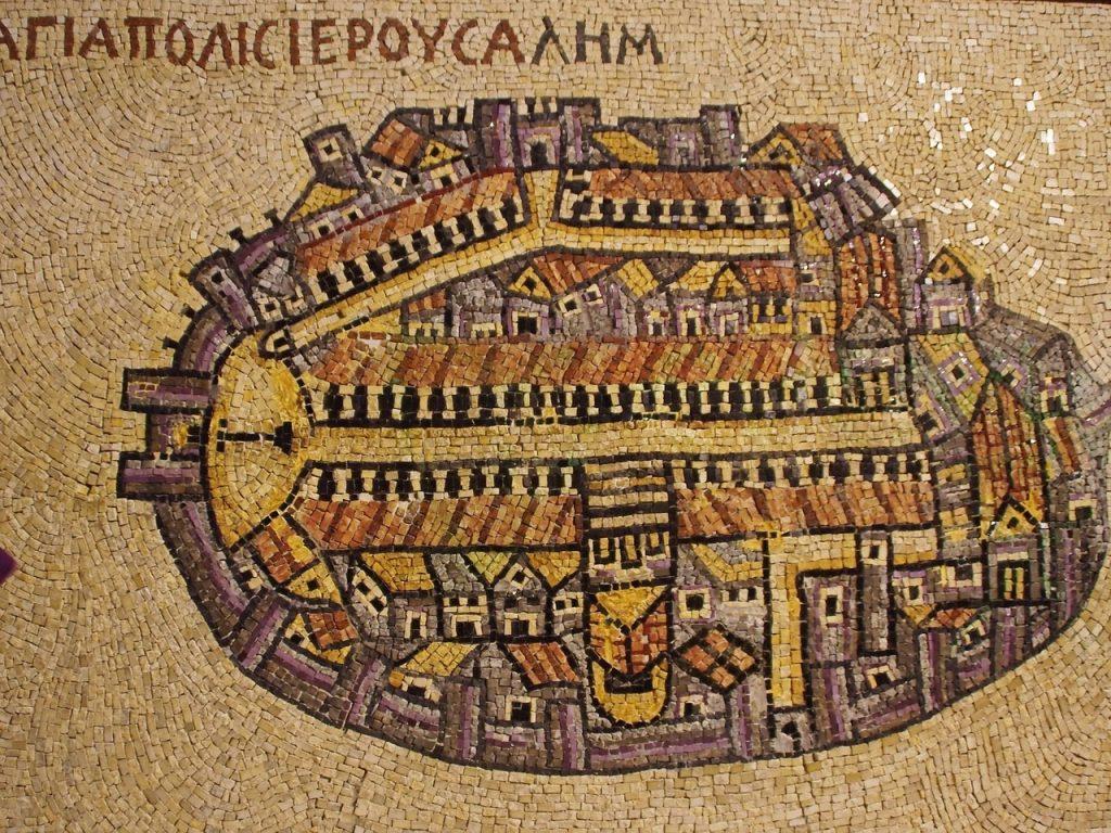 Ein Mosaik der Heiligen Stadt Jerusalem
