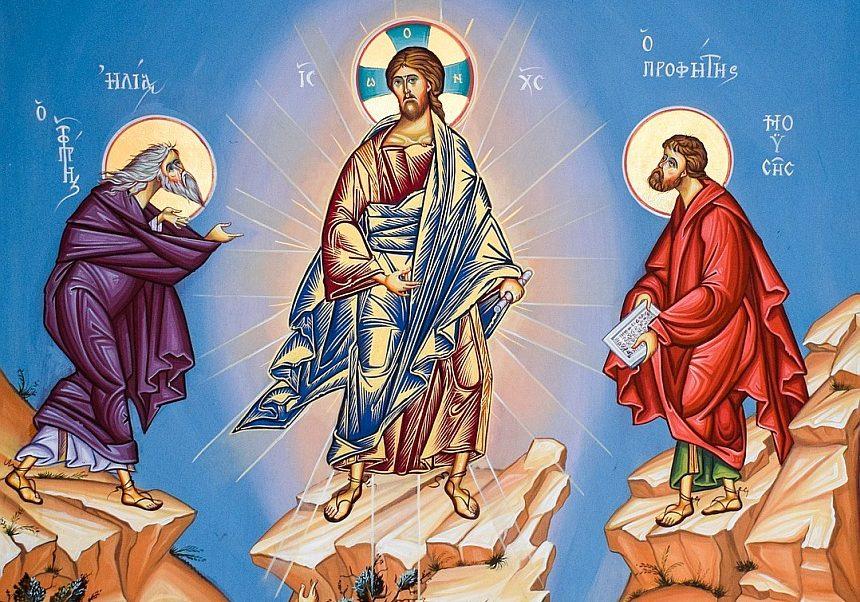 Wiederholung des Bildes von oben, aber nur die obere Hälfte mit Elia, Jesus und Mose