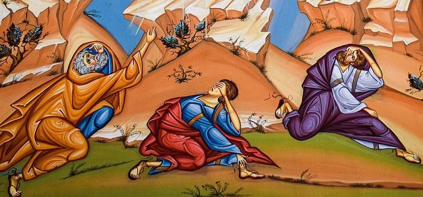 Die stürzenden Jünger auf der Ikone der Verklärung Christi