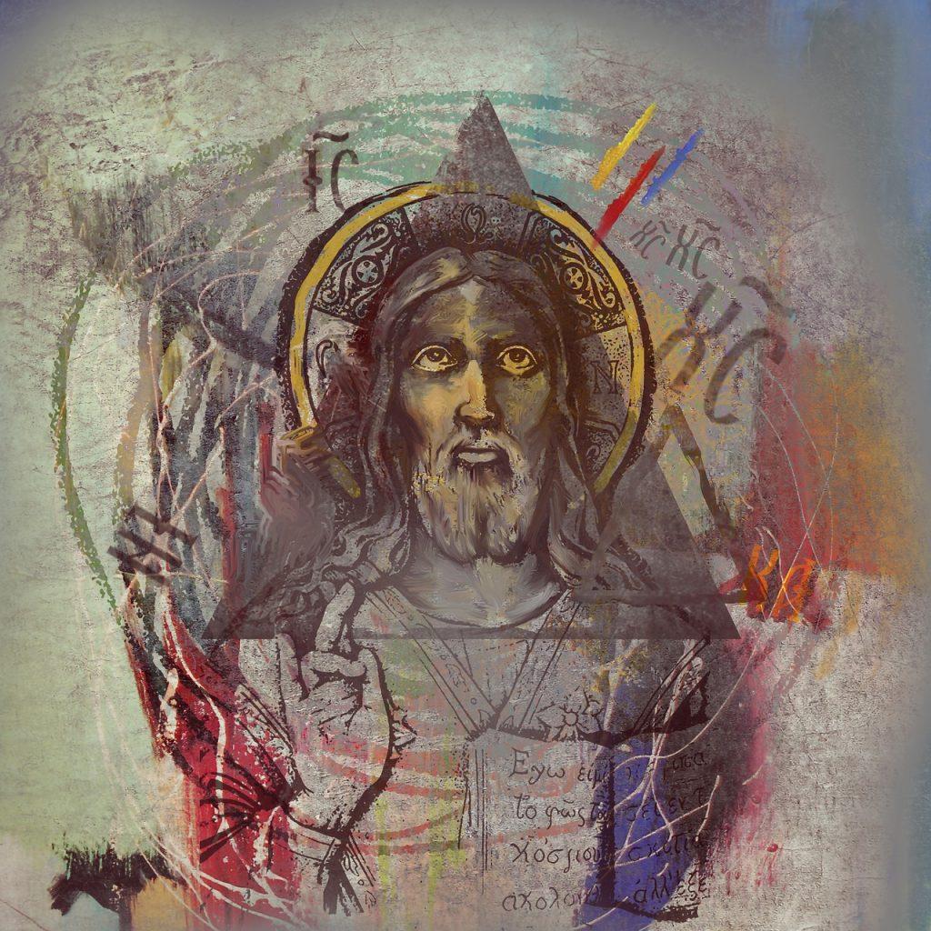 """Jesus mit Heiligenschein und Dreieck Gottes um den Kopf, """"Ich bin das Licht der Welt"""" auf der Brust - außerdem viele andere Symbole um ihn herum"""