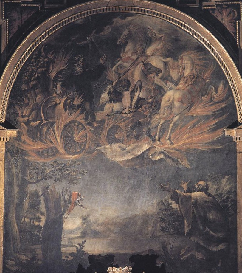 Die Entrückung des Propheten Elia vor den Augen seines Nachfolgers Elisa nach einem Altarbild in der Karmeliterkirche von Cordoba