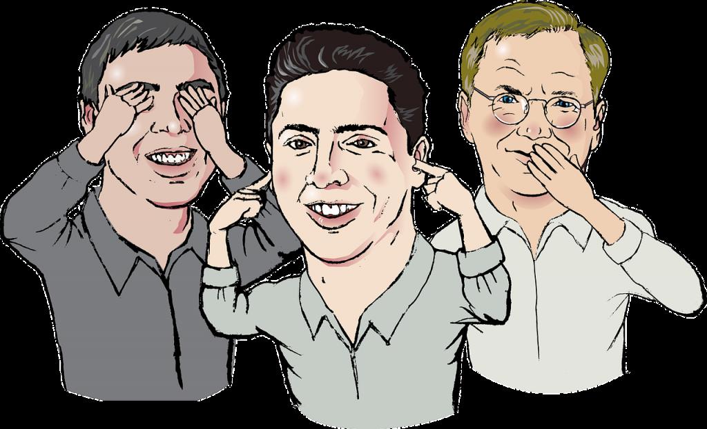 Nicht die drei Affen, sondern drei Männer, die sich Augen, Ohren und Mund zuhalten