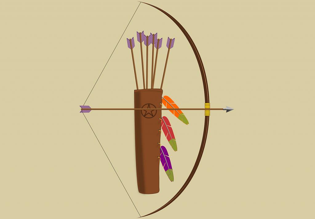 Stilisierte Abbildung von Pfeil und Bogen auf gespannter Sehne und einem Köcher mit weiteren Pfeilen