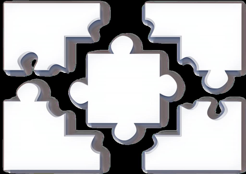 Ein weißes Puzzle-Teil passt genau in die Aussparungen von vier weißen Puzzleteilen, die um es herum angeordnet sind