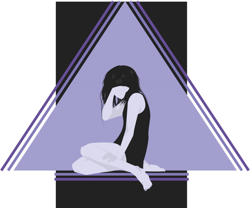 Trauriges Mädchen hält die Hand vor ihr Gesicht und hockt vor einem blauen Dreieck, das vor einer rechteckigen schwarzen Fläche steht