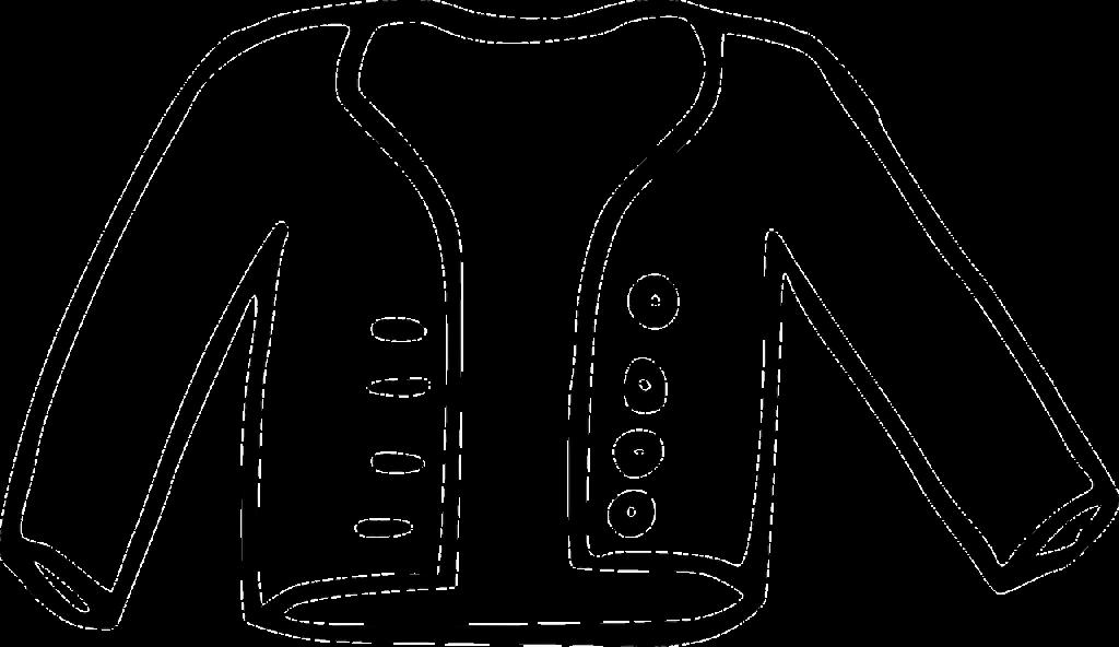 Eine weiße Jacke oder Weste, gezeichnet, stilisiert