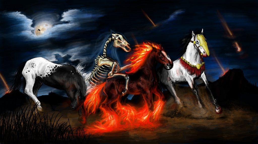 Die Pferde der apokalyptischen Reiter, gemalt von Nebesští Fahrer