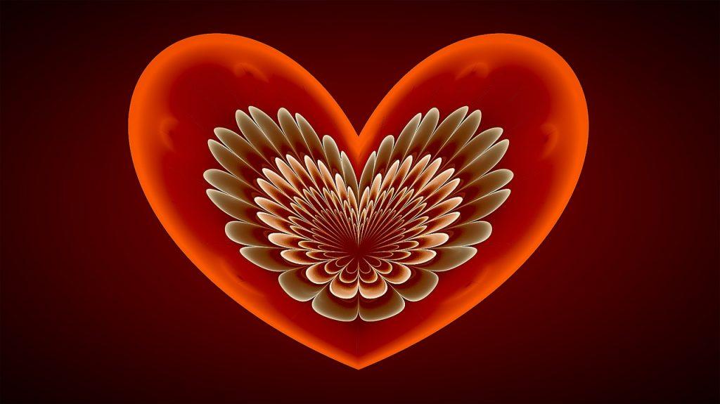 Rotes Herz mit Fraktalen im Innern, die an Engelsflügel erinnern