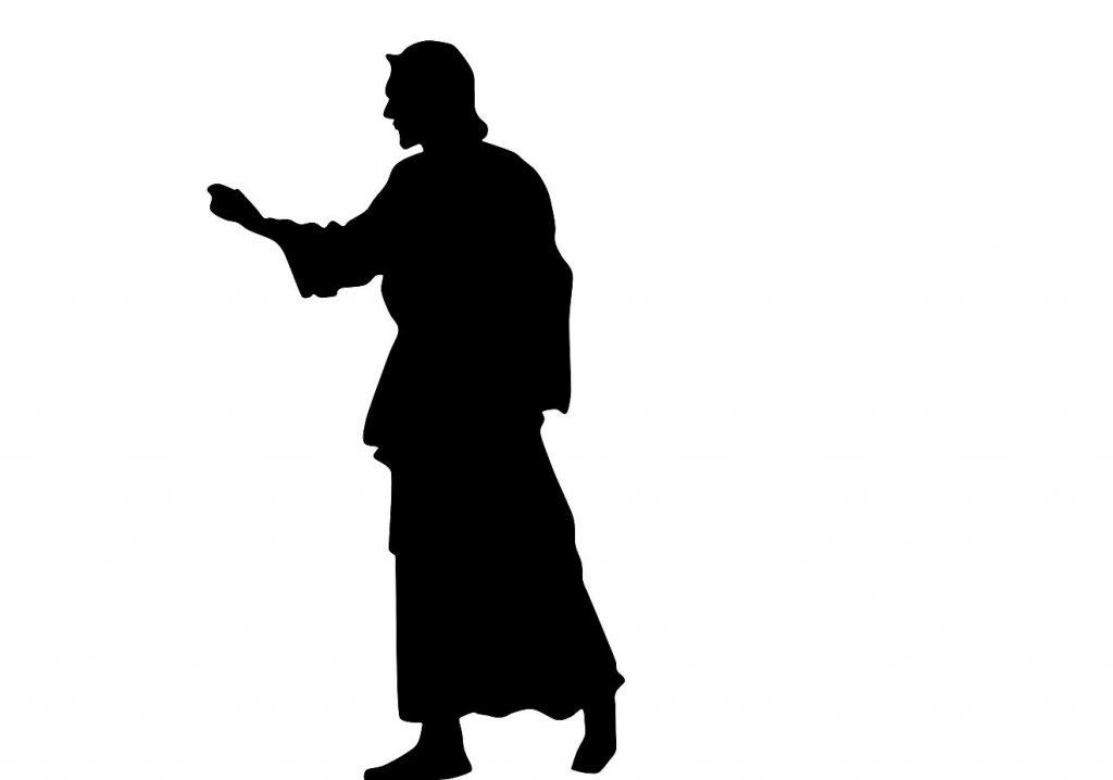 Jesus als Silhouette, er geht mit ausgestrecktem Arm nach links