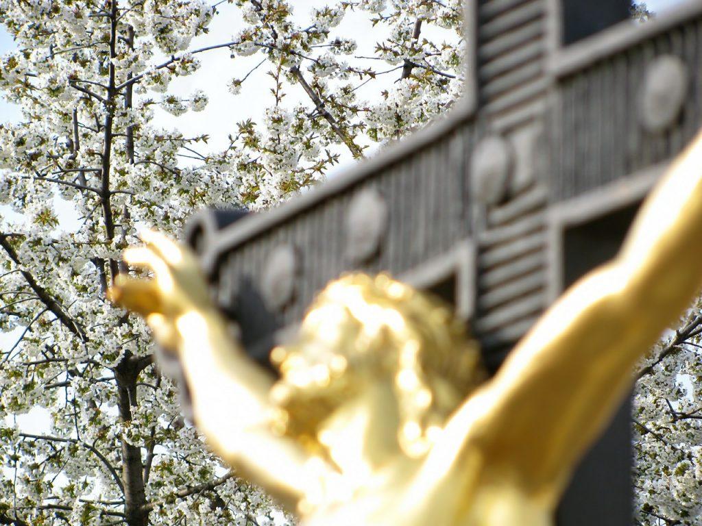 Jesu vergoldeter Körper, der an einem schwarzen Kreuz hängt, ist unscharf fotografiert, im Hintergrund scharf abgebildet Obstbaumblüten