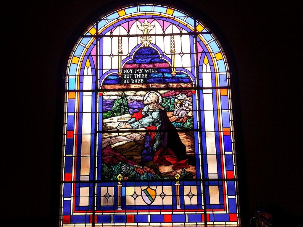 Kirchenfenster: Jesus betet in Gethsemane - Nicht mein, sondern dein Wille geschehe!