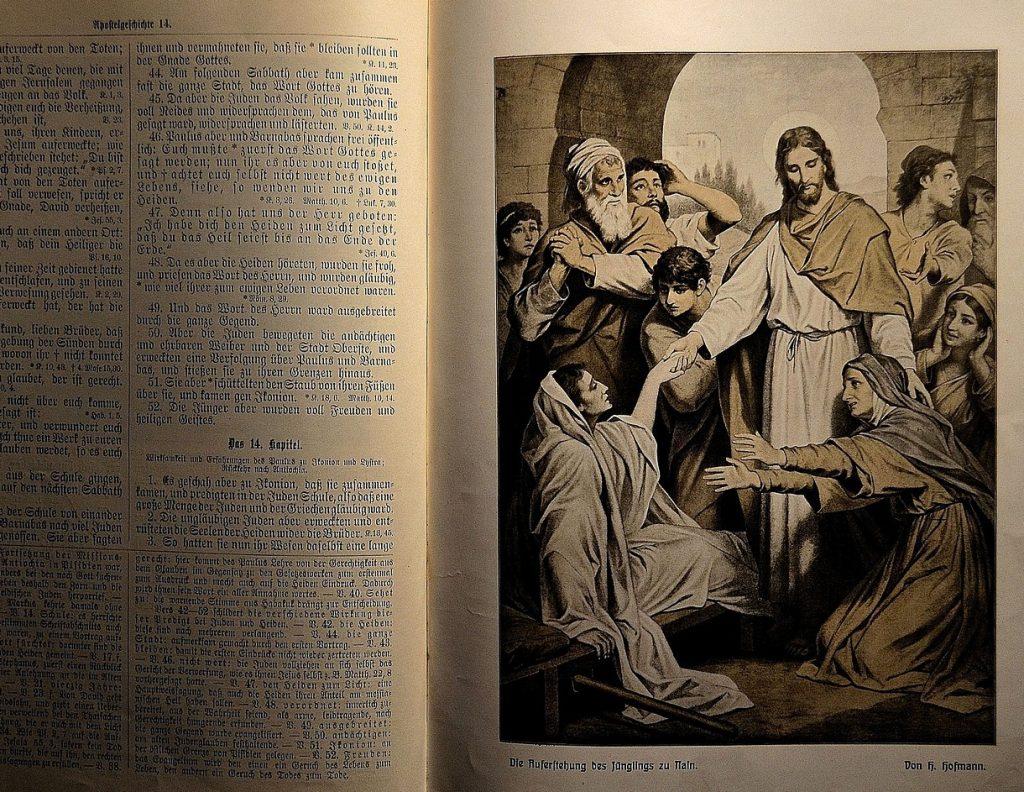 Ein Bild in einer alten Bibel: Jesus erweckt den Jüngling zu Nain vom Tode