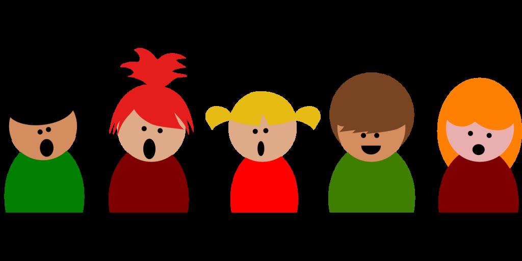 Fünf gemalte, unterschiedliche singende Kinder