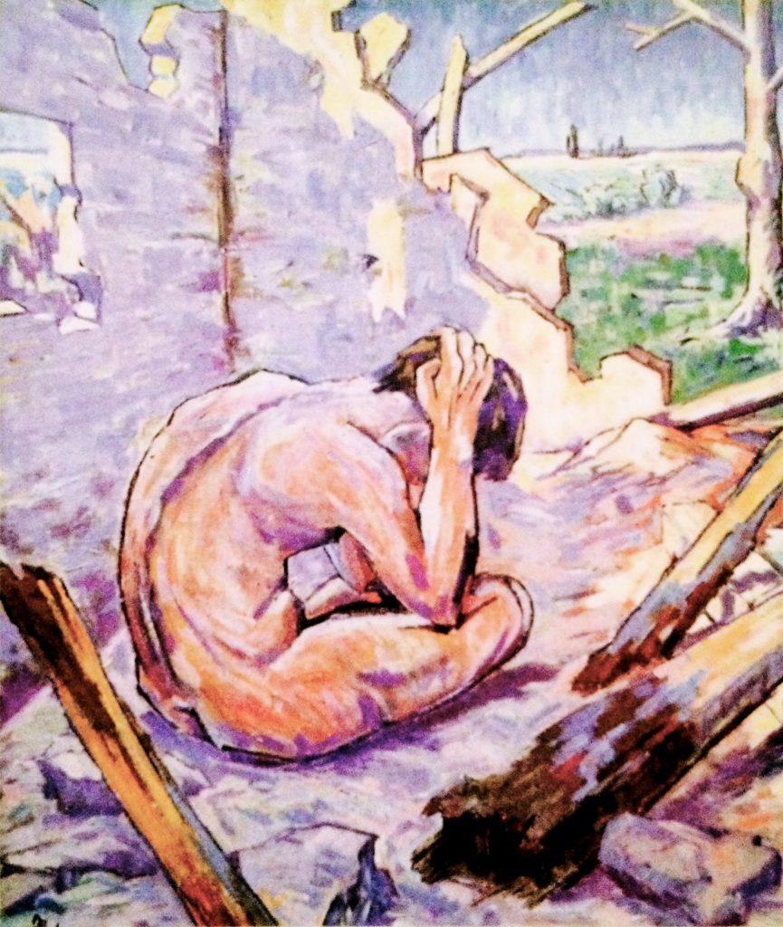Hiob sitzt gebeugt in einem zerstörten Haus auf dem Boden