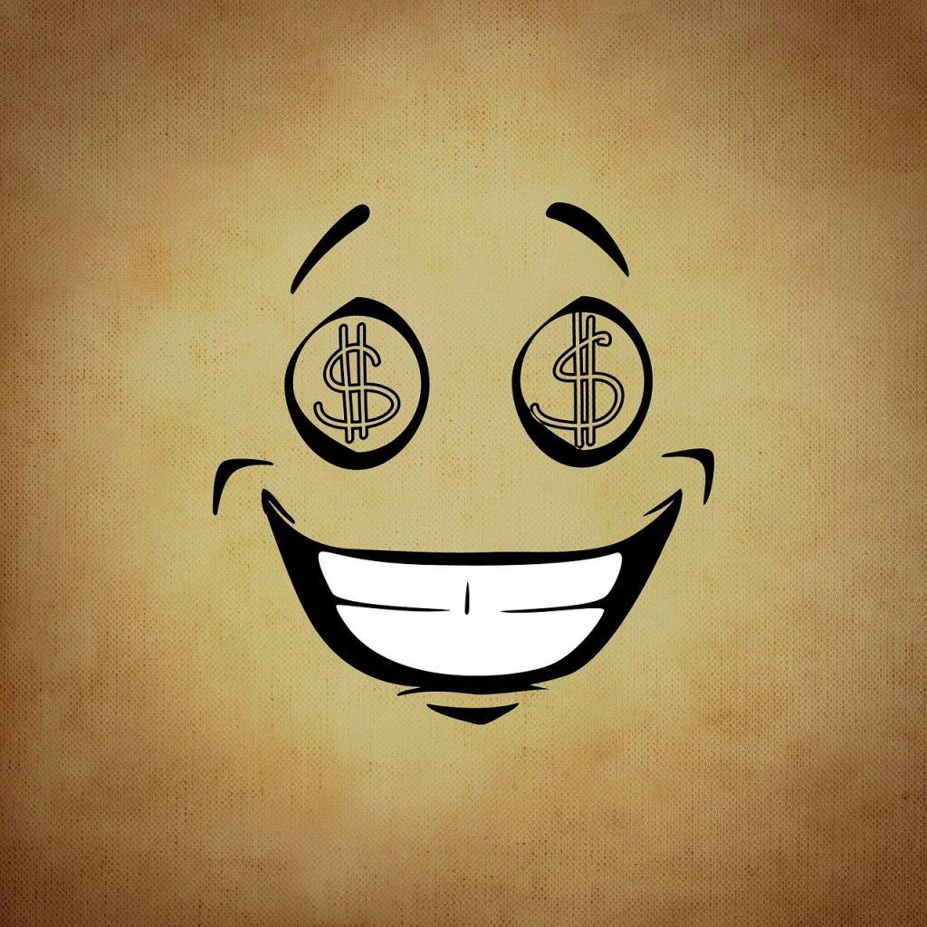 Smilie mit Dollarzeichenaugen als Symbol der Gier nach Geld