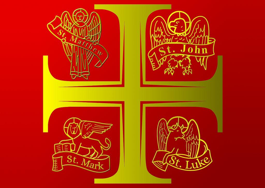 Ein goldenes Kreuz auf rotem Grund mit den Symbolen der vier Evangelisten Matthäus, Markus, Lukas und Johannes in den vier Ecken