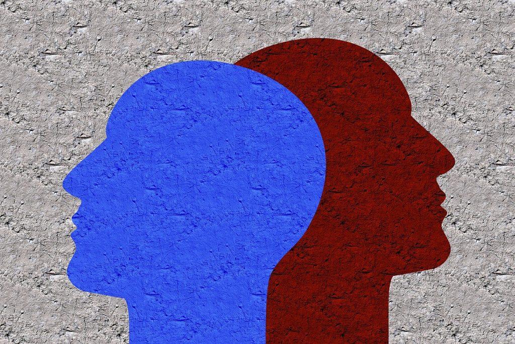 Zwei Gesichter als Schattenriss, die sich überlappen, eins blau, eins dunkel-rotbraun, ein schaut nach links, eins nach rechts