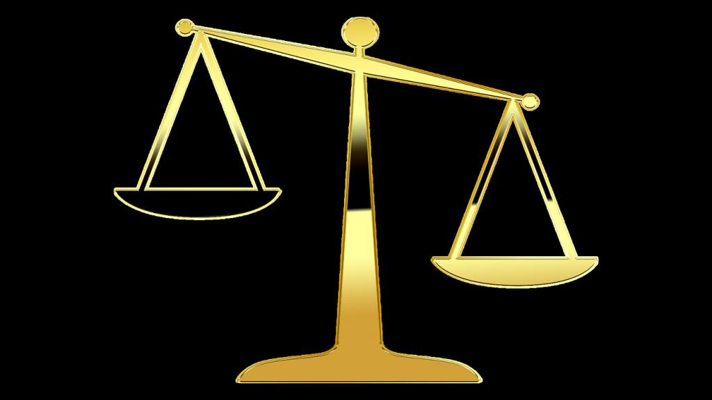 Eine Balkenwaage, die im Ungleichgewicht ist; die rechte, goldene Waagschale ist tiefer als die linke schwarze