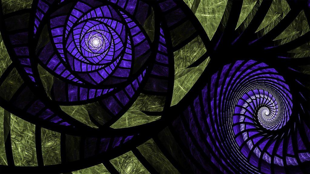 Blaue Fraktale, die wir eine Blume oder eine Spirale aussehen
