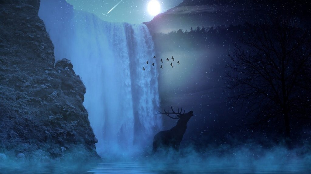 Hirsch vor einem Wasserfall im Mondlicht