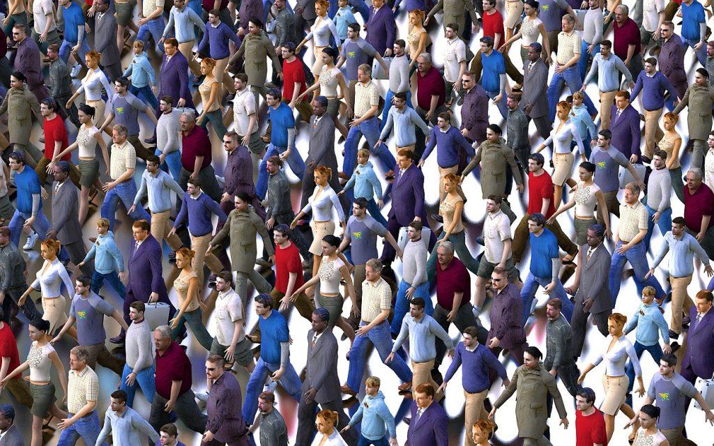 Der Verstorbene war nicht zum Mitläufer geboren: Bild einer Menschenmenge, die im Gleichschritt zu marschieren scheint.