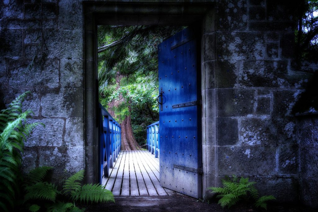 Offenheit ohne Verstellung: eine blaue Tür in einer Steinmauer führt auf eine Brücke, die in einen geheimnisvollen Wald zu führen scheint