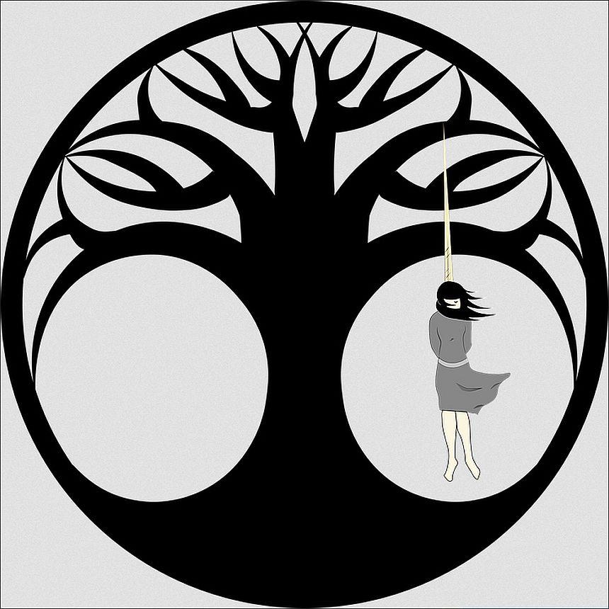 Warum ließ er die im Stich, die ihn liebten? Das Bild zeigt in einem Kreis einen stilisierten Baum als Schattenriss mit zwei offenen Kreisen zwischen den Wurzeln und der Krone - im rechten Kreis hängt eine junge Frau, die sich erhängt hat
