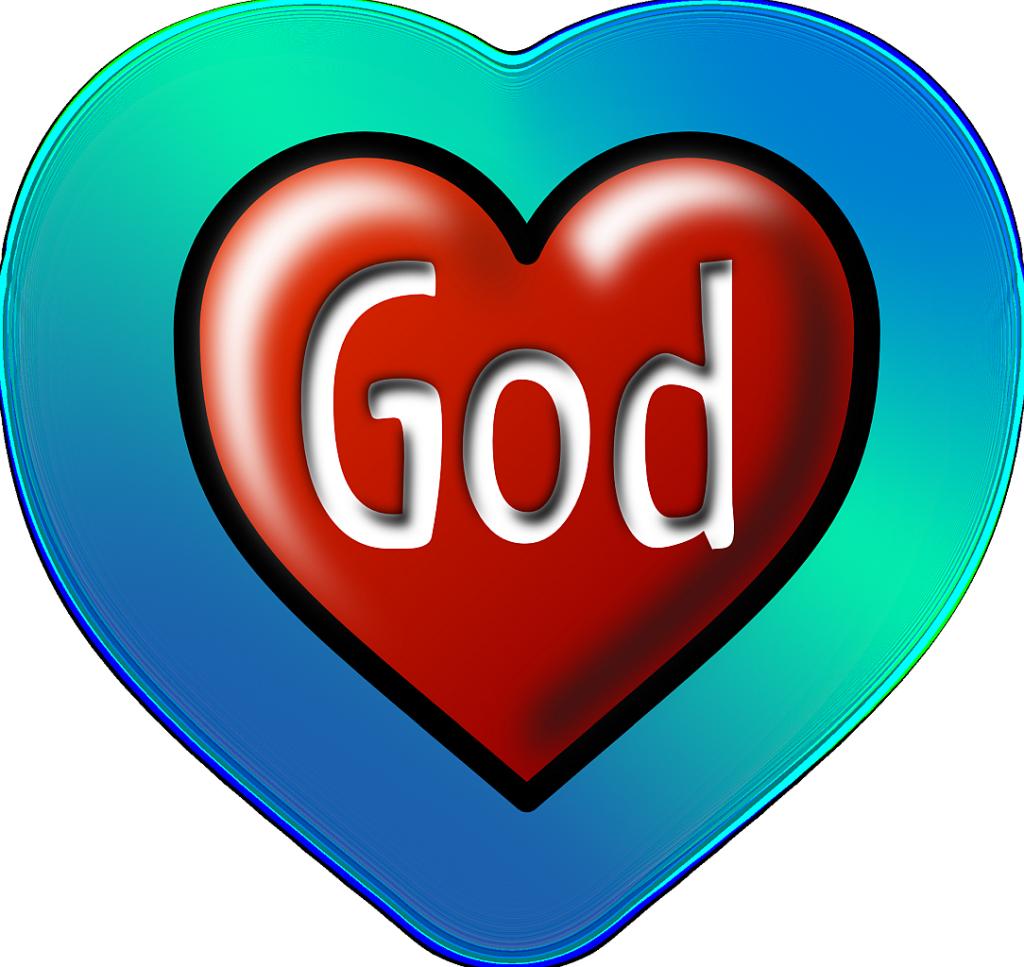 """""""Gott hat mich angelächelt"""": Ein rotes Herz mit der Inschrift """"God"""" = """"Gott"""", umgeben von einem größeren blaugrünen Herzen"""