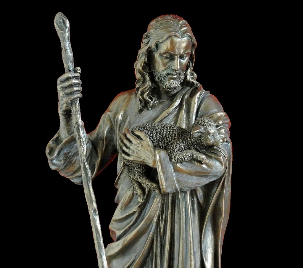 Bild von Jesus als Schäfer mit Hirtenstab und Schäfchen auf dem Arm