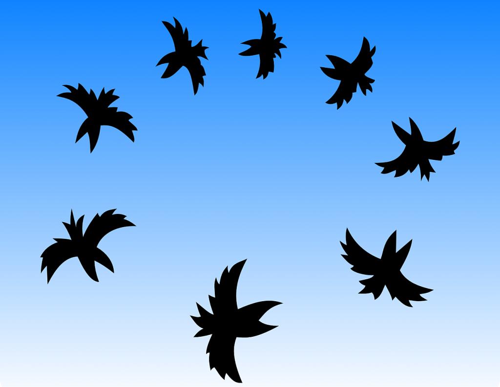 Vögel der Trauer: Silhouetten von Krähen, die einen Kreis vor einem blauen Himmel bilden