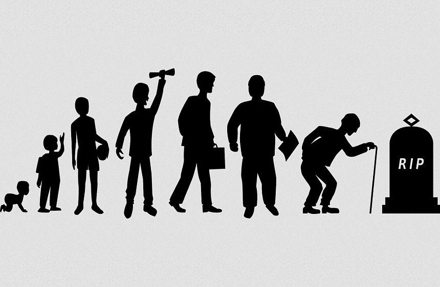 Kurz ist unser Leben: Eine Grafik, die das Leben darstellt vom Baby über Jugend- und Erwachsenenalter bis zum Grab