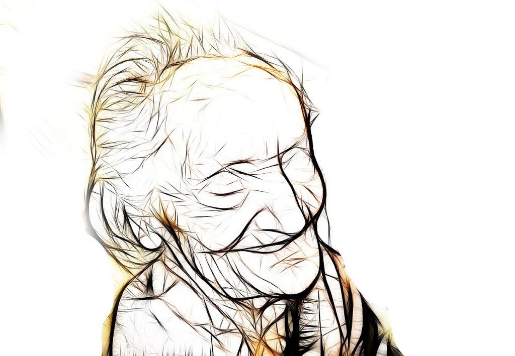Selig sind die geistlich Armen: Zeichnung einer glücklich lächelnden alten Frau