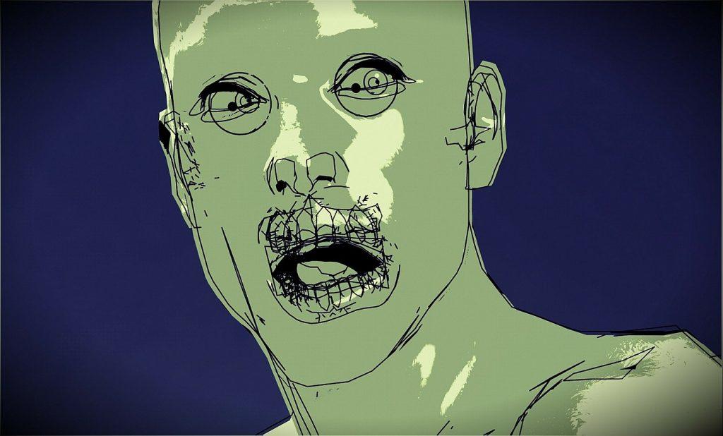 Bild eines verzweifelten Menschen, gezeichnet, mit zum Schrei geöffneten Mund und starr blickenden Augen