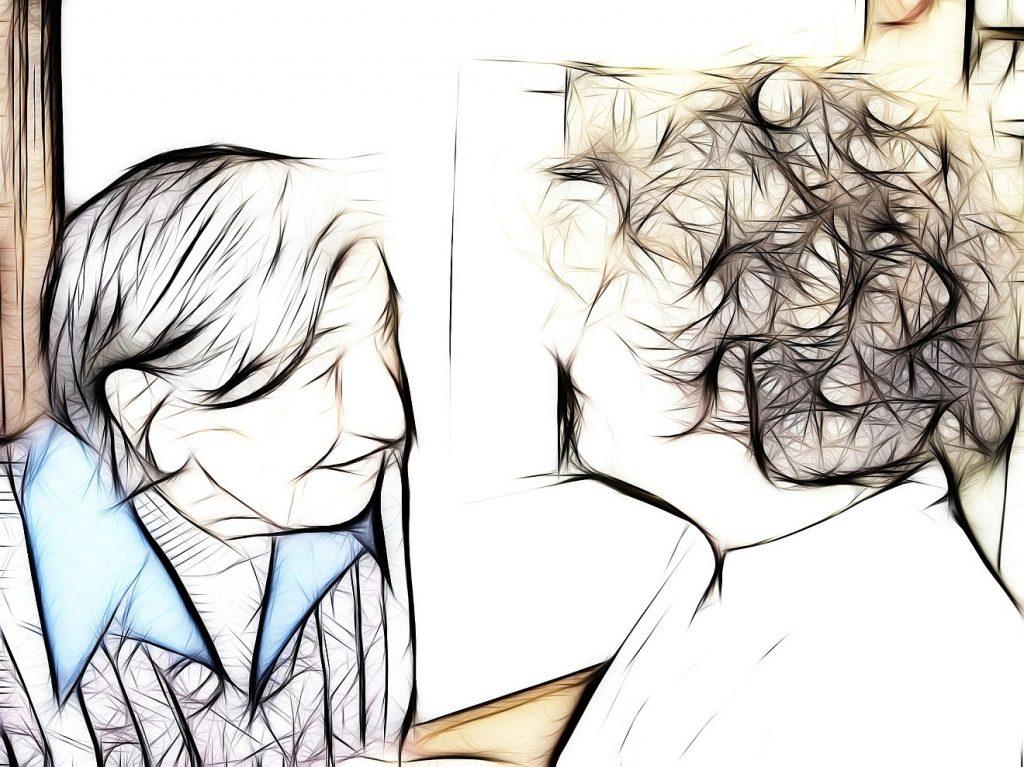 Geistige Behinderung und Demenz: Zeichnung einer lächelnden älteren Frau im Gespräch mit einer Pflegekraft
