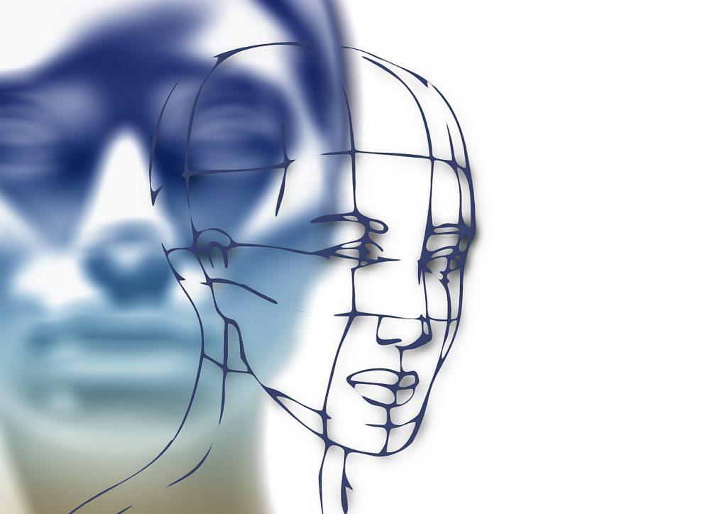 Gnade als Herausforderung: Ein verschwommen dargestelltes ernstes Gesicht mit geschlossenen Augen in der linken Bildhälfte, im Halbprofil treten aus diesem Gesicht die Umrisse eines entschlossen blickenden Gesicht heraus; die rechte Bildhälfte ist weiß
