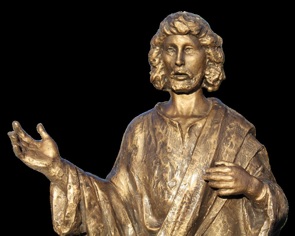 Jesus: Wort(e) des Lebens: Bronze-Skulptur von Jesus, die Hände lehrend ausgebreitet
