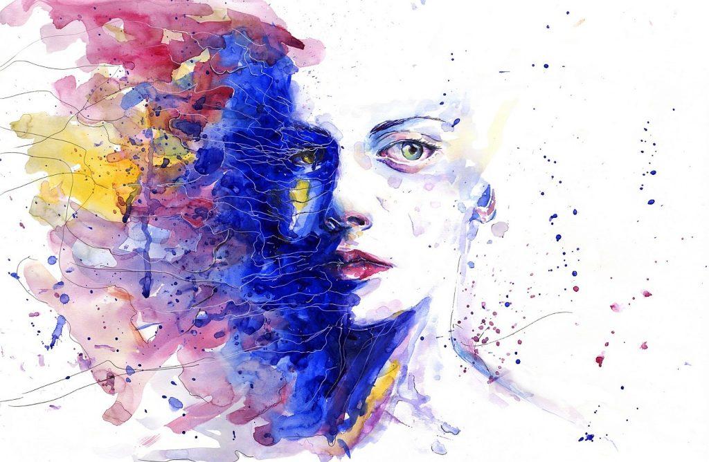 Keine Angst vor Gefühlen: Ein Gesicht inmitten eines Kaleidoskops verschiedener Farben und Formen
