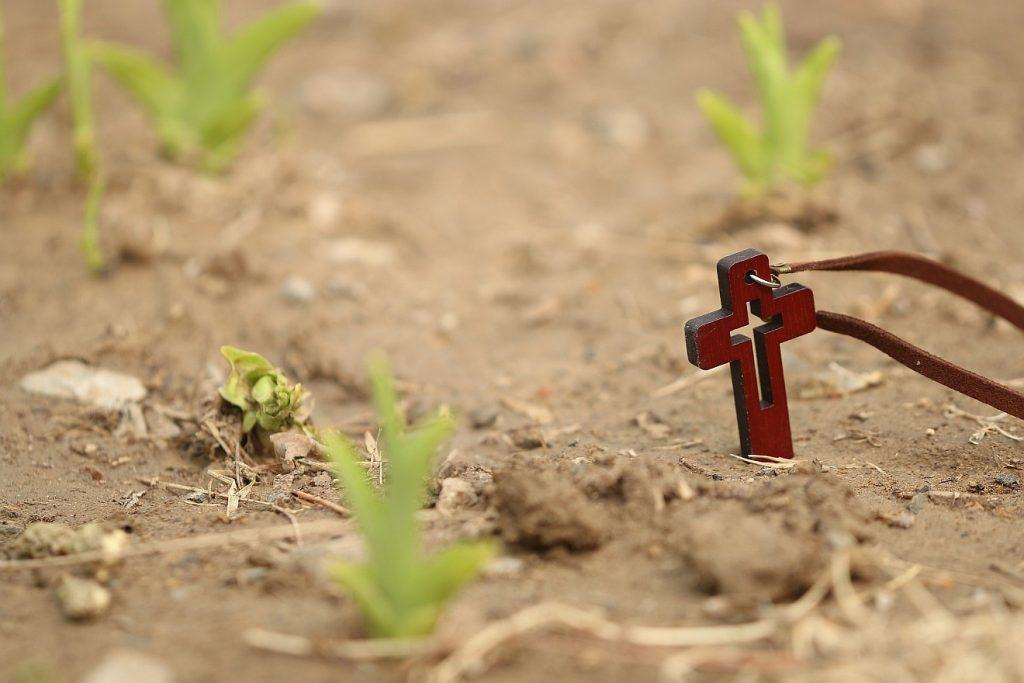An die Auferstehung glauben: Ein Umhängekreuz steckt in der Erde, aus der auch einige grüne Triebe hervorsprießen