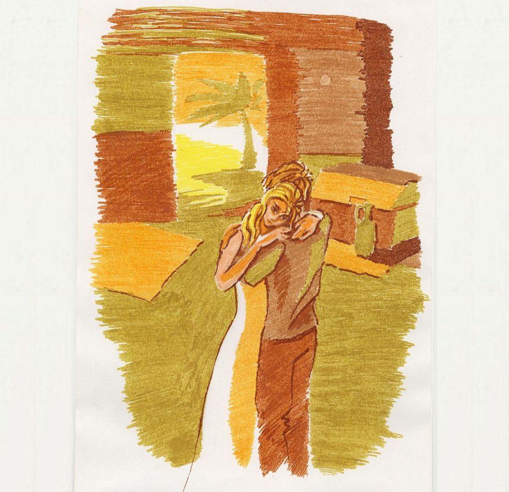 Trauer und Freude: Eine Farbstiftzeichnung eines jungen Paares, das sich gegenseitig tröstet, innerhalb eines Raumes, durch dessen offene Tür man eine Palme sieht