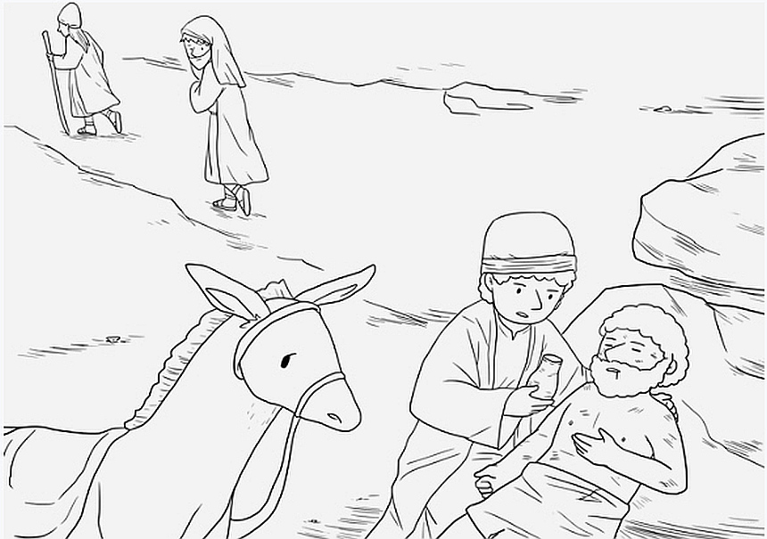 Menschenliebe: Der barmherzige Samariter kümmert sich um einen Mann, der überfallen worden war.