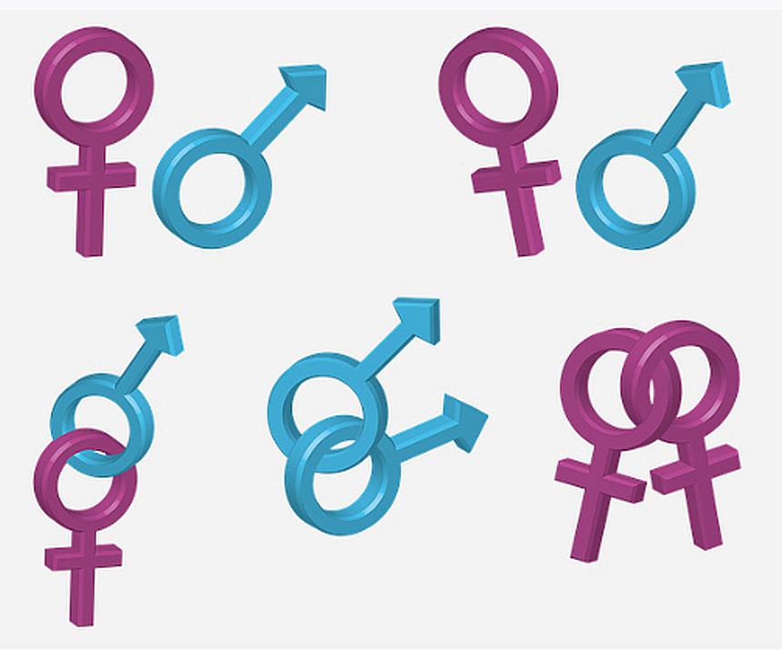 Zeitgeist? Symbole männlich-weiblicher und männlich-männlicher sowie weiblich-weiblicher Partnerschaften stehen nebeneinander