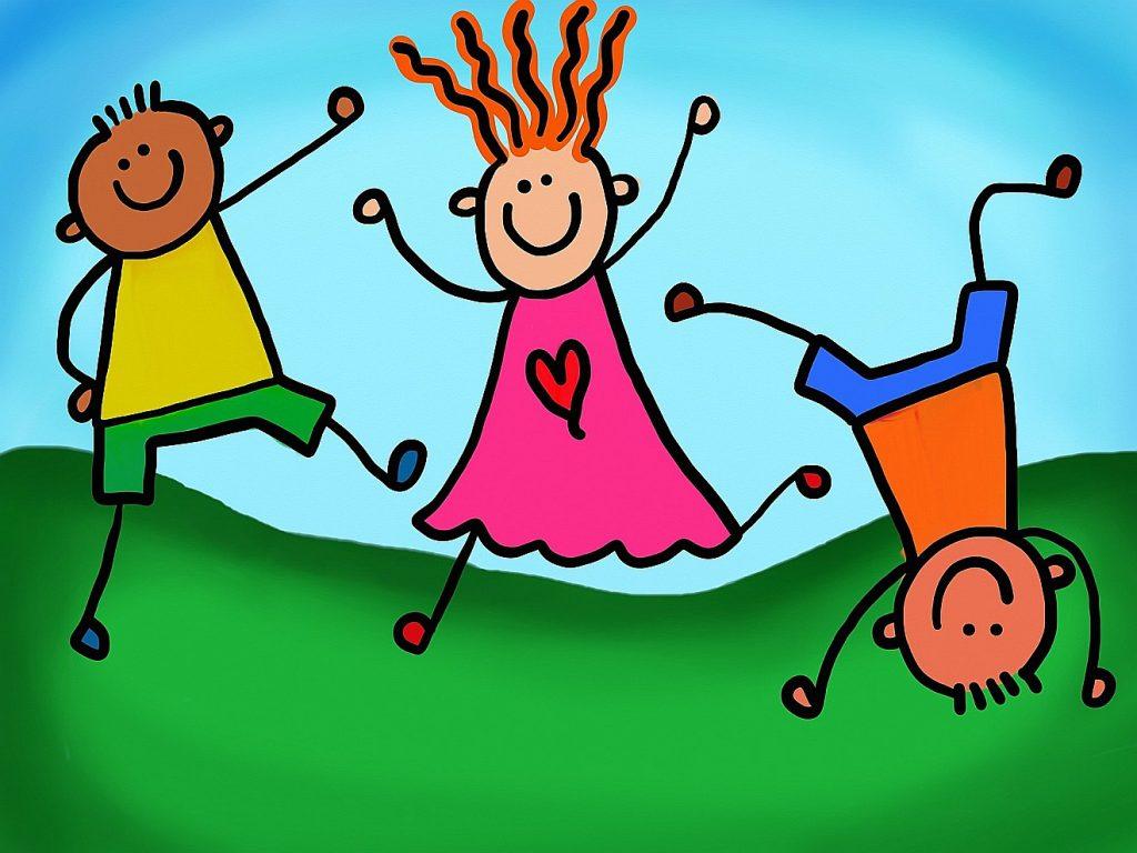 Drei hüpfende und springende Kinder beim Spielen in farbenfrohen Farben gemalt