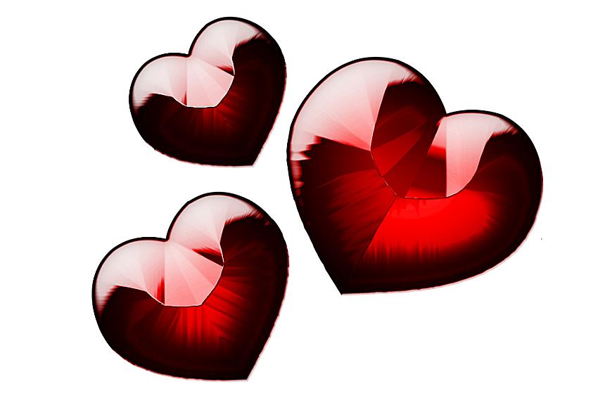 Drei rote Edelsteine in Herzform, die der Vierte König mit sich nimmt.