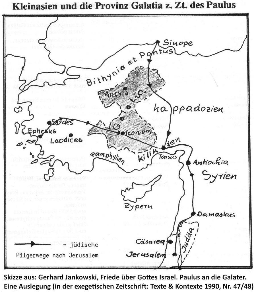 Landkarte von Kleinasien zur Zeit des Paulus mit einer Skizze der Gemeinden Galatiens (das Land der anatolischen Kelten!)