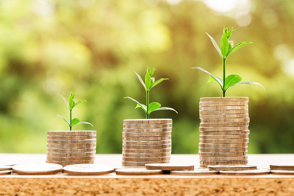 Drei Geldhäufchen, aus denen ein Pflänzchen herauswächst - Symbol für wachsenden Reichtum